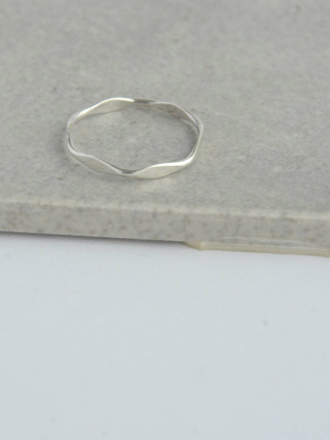 Sterling Stacking Rings - Thin Waves