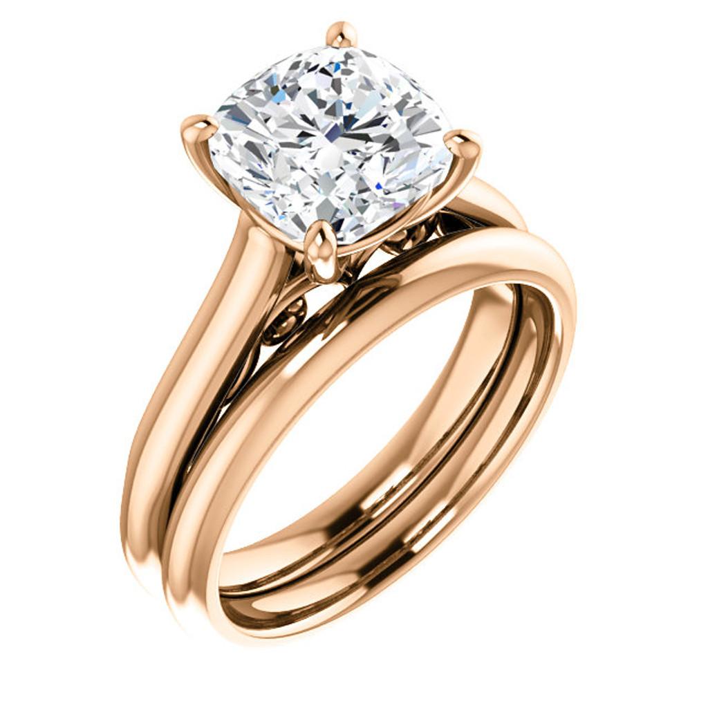 ... High End 3 Carat Cushion Cut Cubic Zirconia Wedding Set In Solid 14  Karat Pink Gold ...