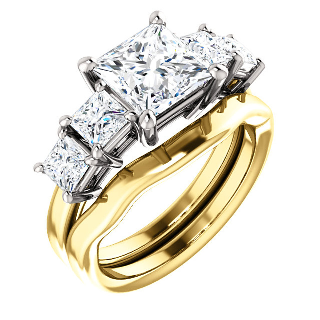 Stunning 2 Carat Princess Cut Cubic Zirconia 5 Stone Engagement Ring & Matching Band in Solid 14 Karat Yellow & White Gold