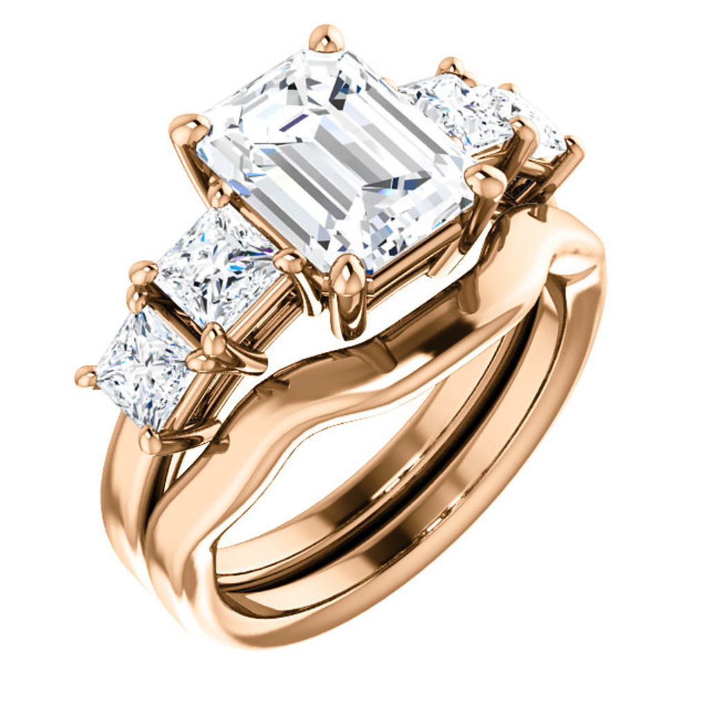Flawless 2 Carat Emerald Cut Cubic Zirconia Engagement Ring & Matching Band in Solid 14 Karat Pink Gold