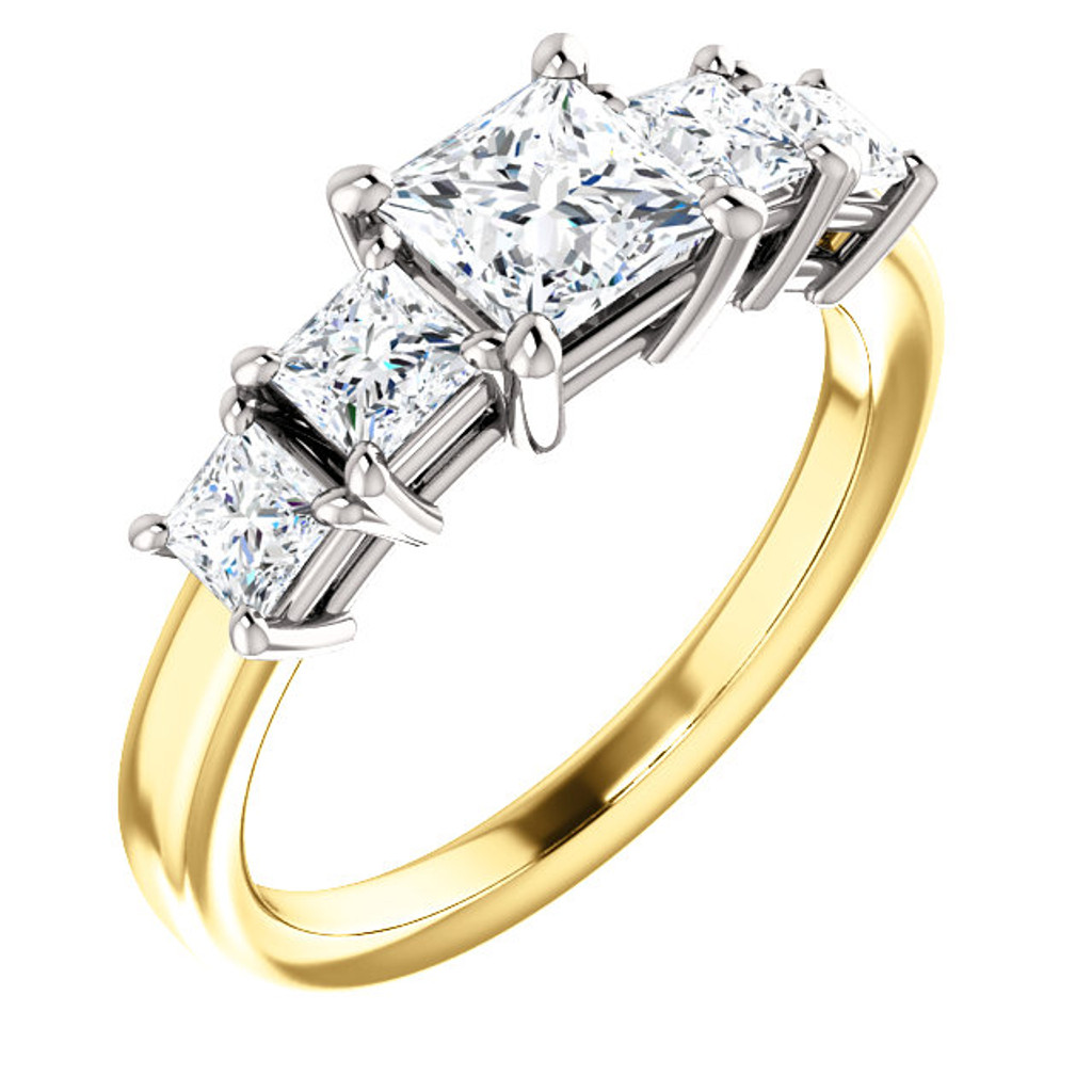 Gorgeous 5 Stone Princess Cut Engagement Ring