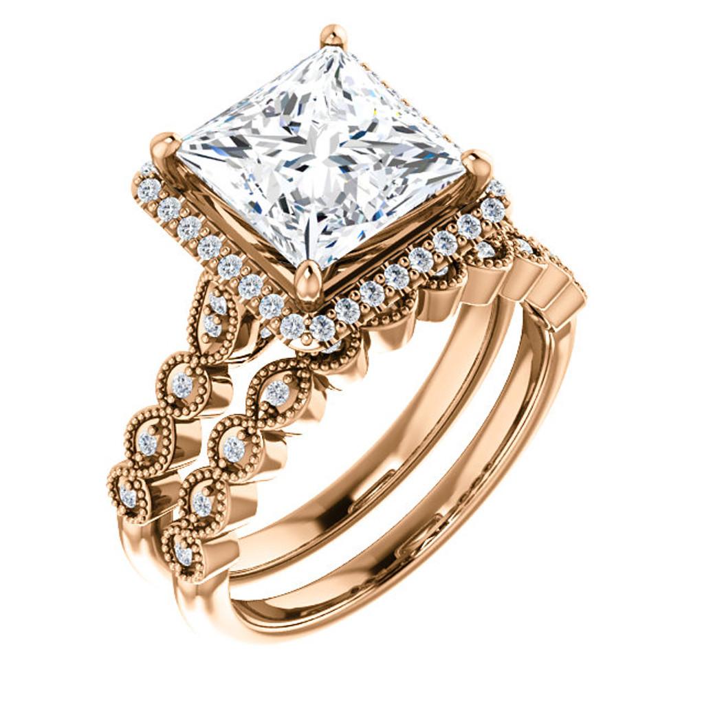 Gorgeous 3 Carat Princess Cut CZ Wedding Set in Solid 14 Karat Rose Gold