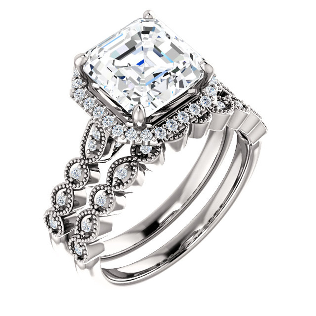 Flawless 3 Carat Asscher Cut Cubic Zirconia Engagement Ring & Matching Band