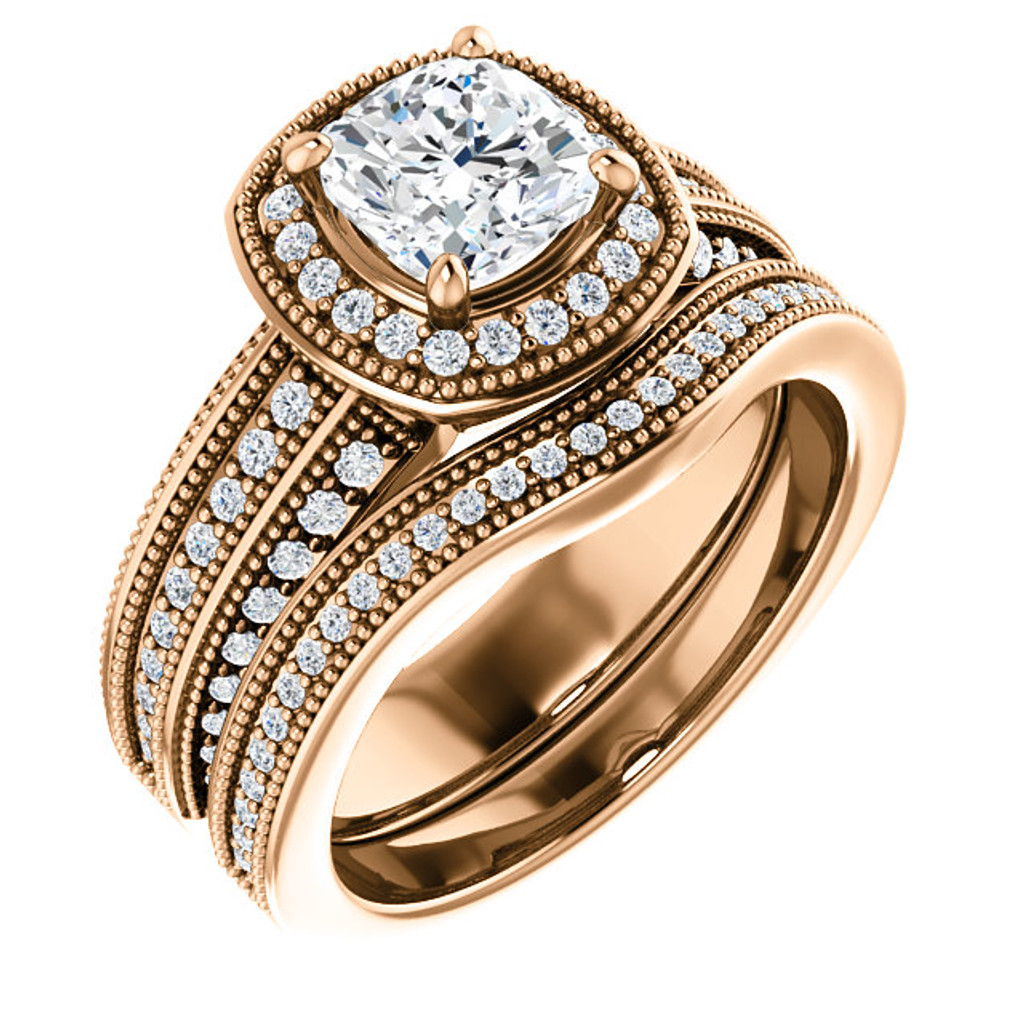 Hand Cut & Polished 1 Carat Cushion Cut CZ in Heavy, Solid 14 Karat Rose Gold Setting