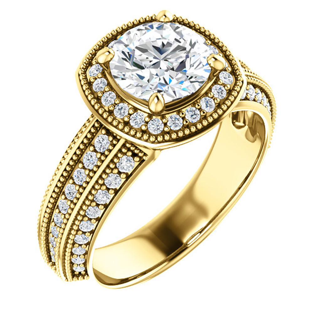 Hand Cut & Polished Round Cubic Zirconia Engagement Ring in Solid 14 Karat Yellow Gold