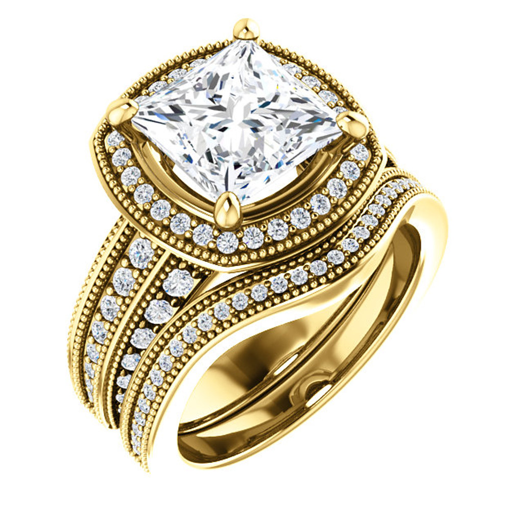 Hand Cut & Polished 3 Carat Princess Cut Cubic Zirconia in Heavy Solid 14 Karat Gold Setting