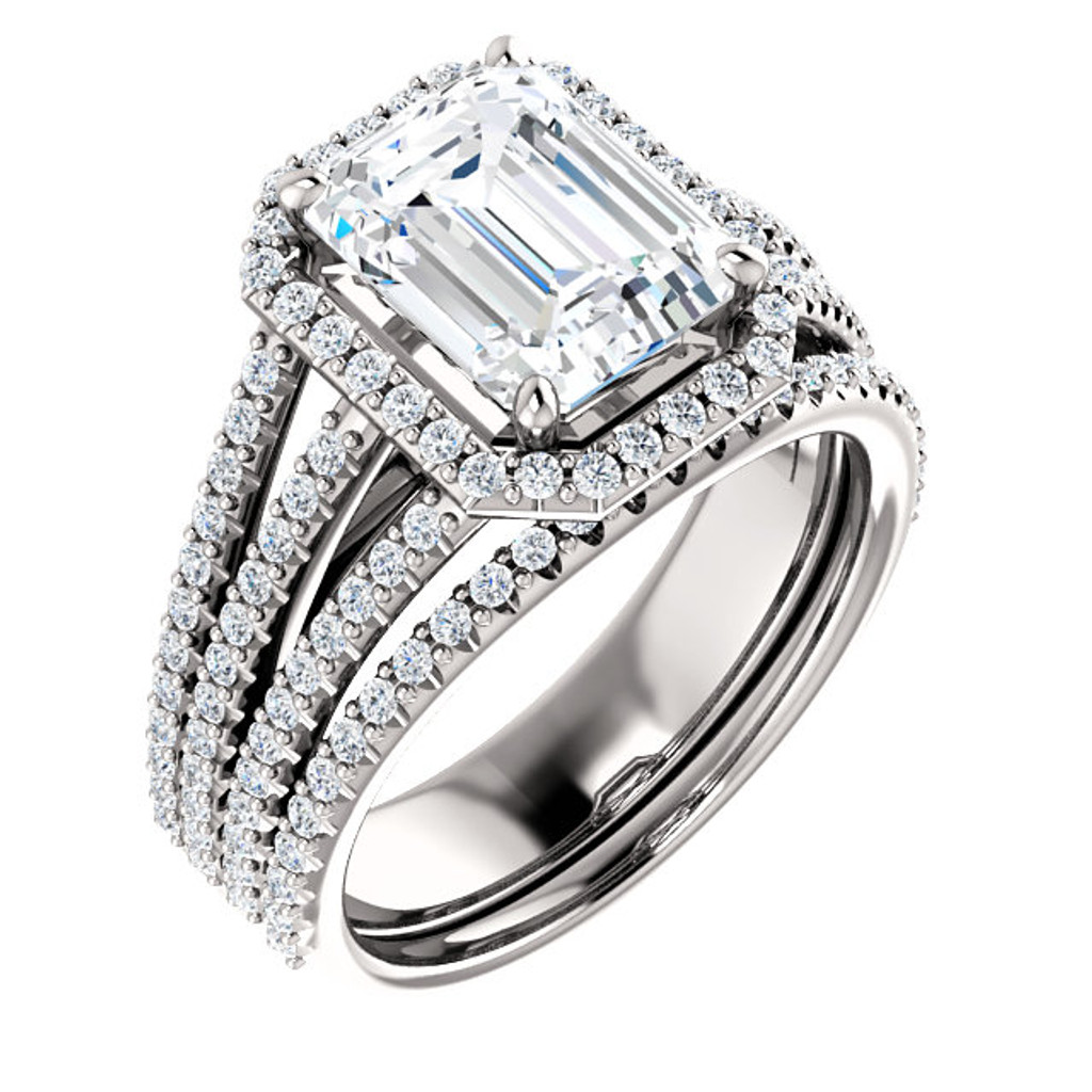 Hand Cut & Polished 2 Carat Emerald Cut Cubic Zirconia Halo Wedding Set in Solid 14 Karat White Gold