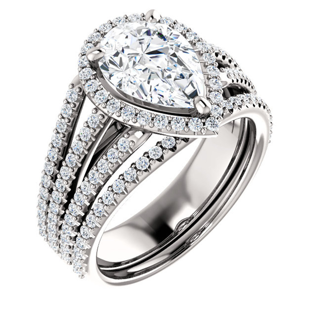 Hand Cut & Polished 2 Carat Pear Cubic Zirconia Halo Wedding Set in Solid 14 Karat White  Gold