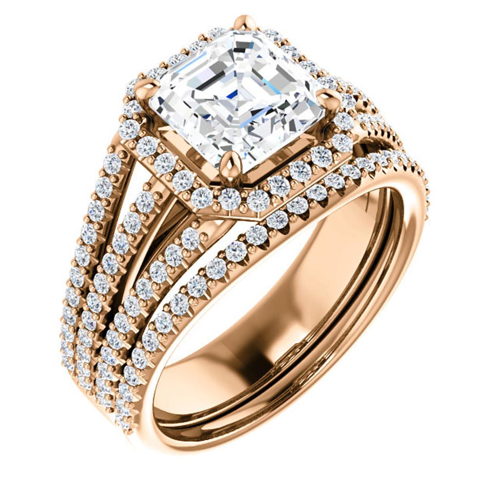 Flawless 2 Carat Asscher Cut Cubic Zirconia Halo Wedding Set in Solid 14 Karat Pink Gold