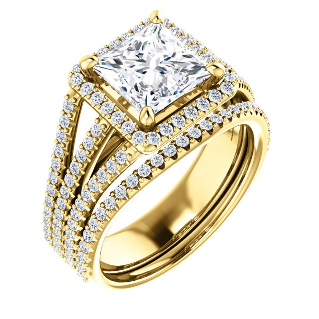 Philomena Cubic Zirconia Engagement Ring Matching Band