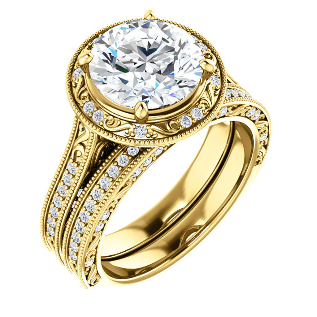 Beautiful 3 Carat Round Cubic Zirconia Halo Wedding Set in Yellow Gold