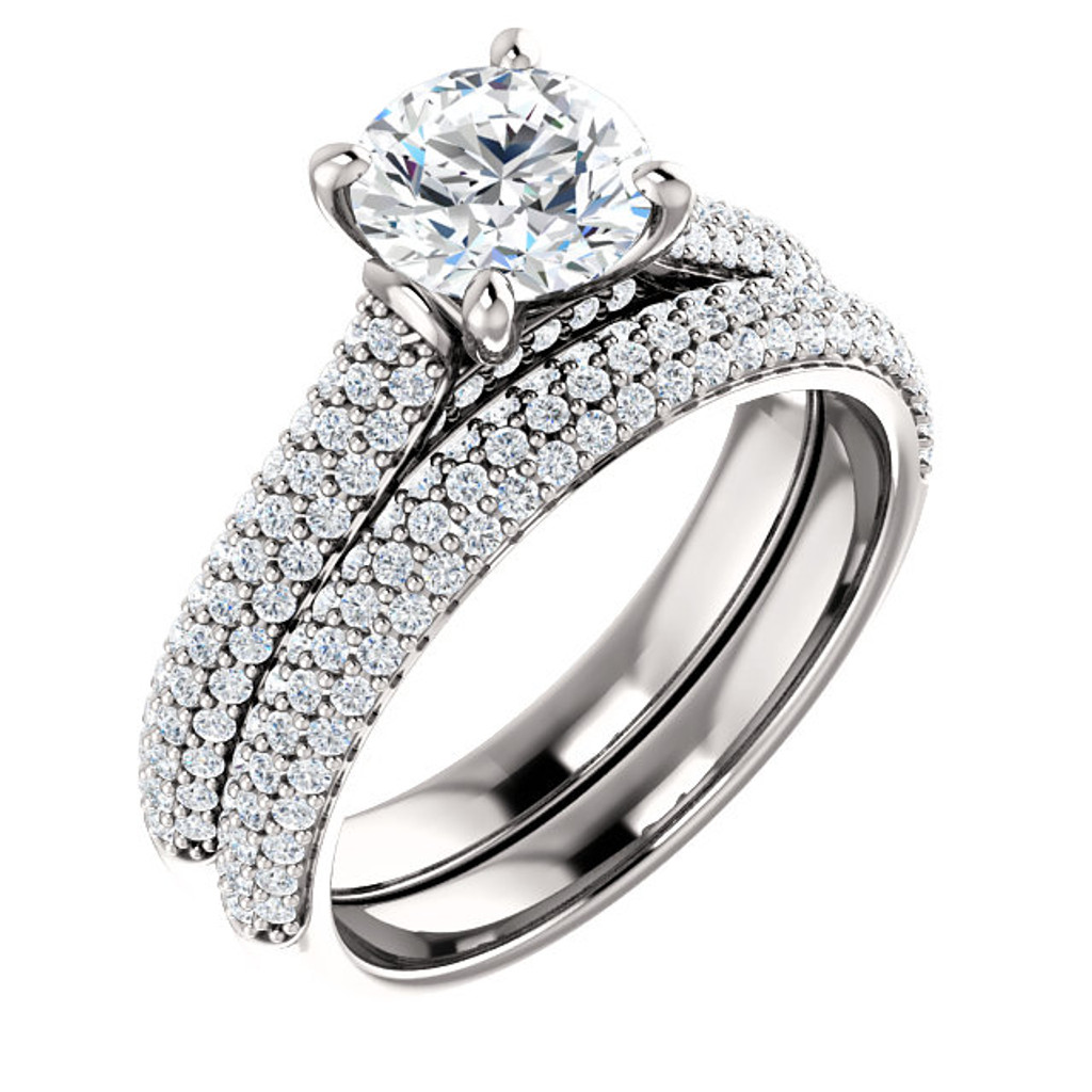 Hand Cut & Polished 1 Carat Cubic Zirconia Wedding Set