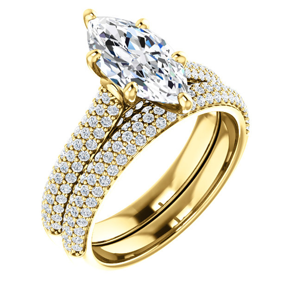 Brilliant 2 Carat Marquise Pave' Wedding Set in Solid 14 Karat Yellow Gold
