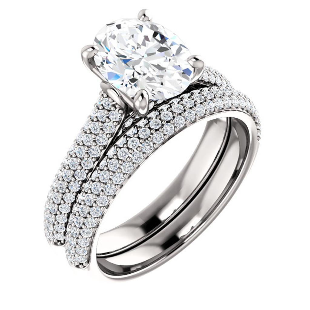 Highest Quality 2 Carat Oval Cubic Zirconia Wedding Set in Solid 14 Karat White Gold