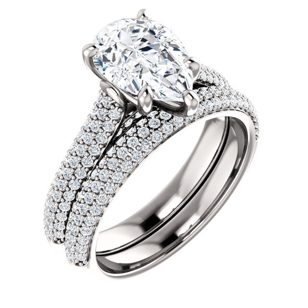 Brilliant 2 Carat Pear Cubic Zirconia Wedding Set in Solid 14 Karat White Gold