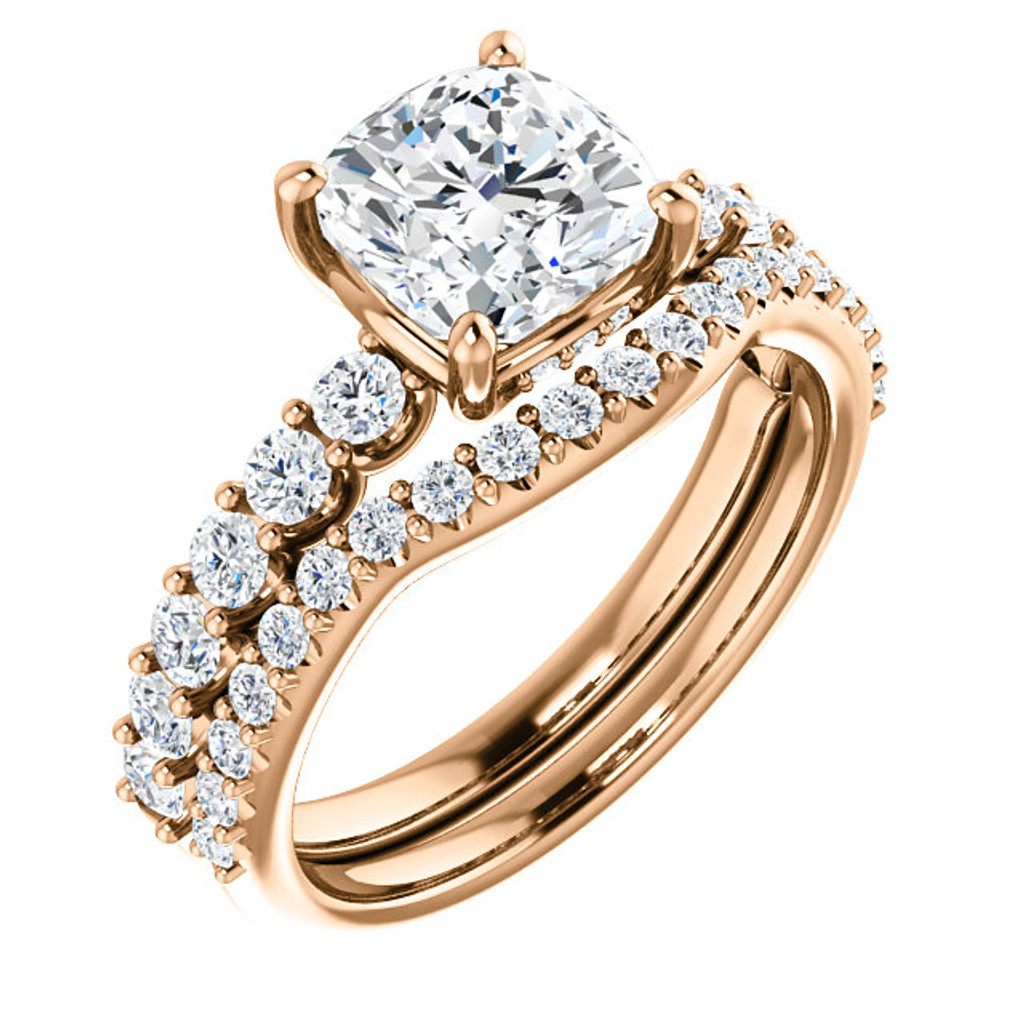Brilliant 2 Carat Cushion Cut Cubic Zirconia Engagement Ring & Matching Band in Solid 14 Karat Rose Gold