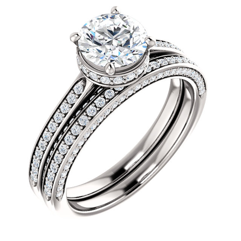 Georgina Hidden Halo Cubic Zirconia Engagement Ring Matching Band