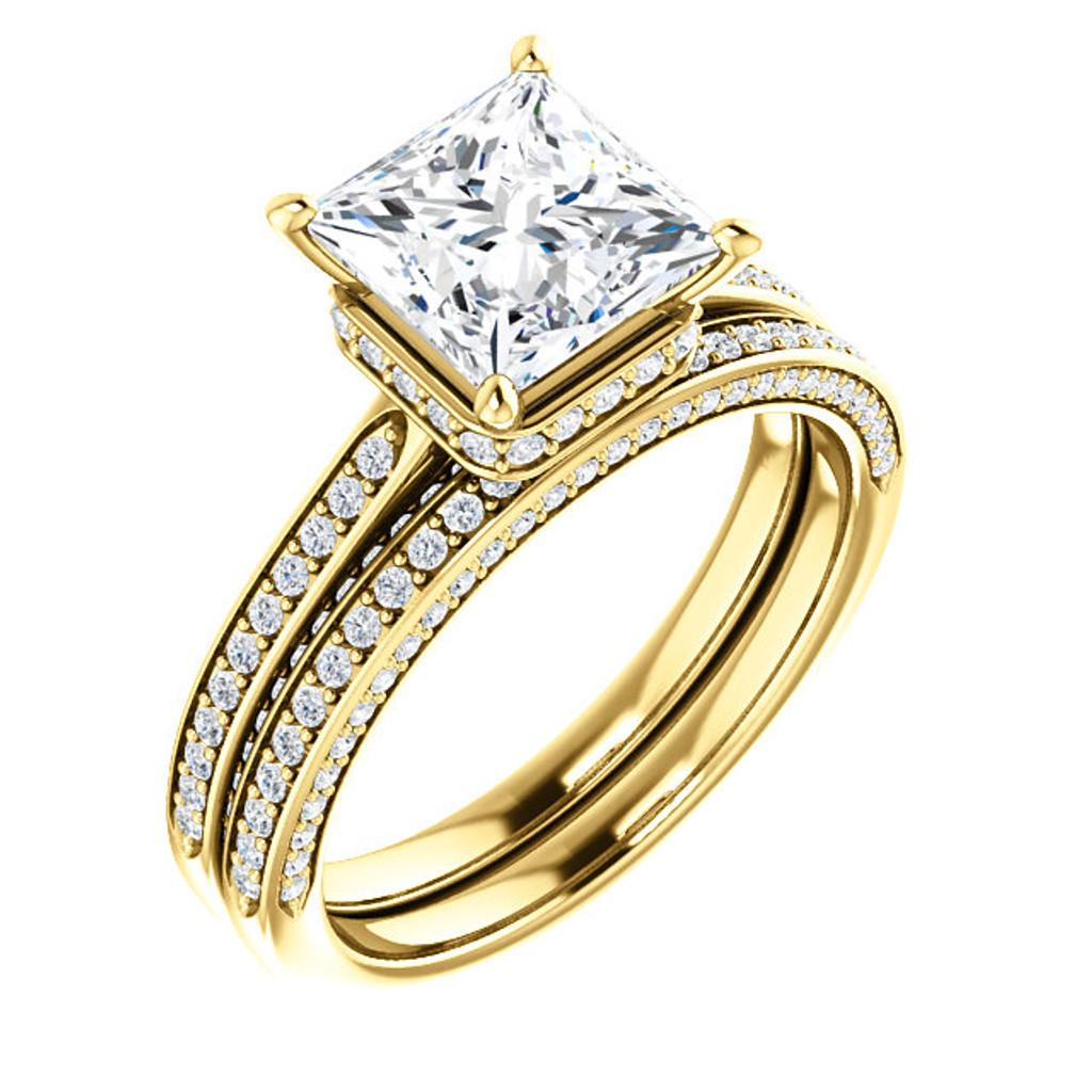 Stunning 2 Carat Princess Cut Cubic Zirconia Hidden Halo Wedding Set in Solid 14 Karat Yellow Gold