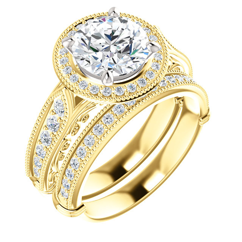 Hand Cut & Polished Cubic Zirconia Wedding Set in Solid 14 Karat Yellow Gold with White Gold Stone Setting