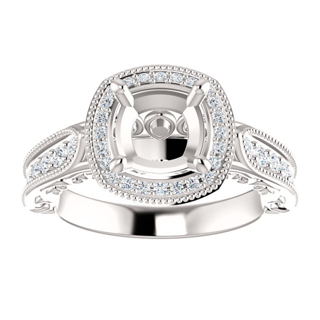 Semi-Set Vivian Engagement Ring in Your Choice of Center Stone & Carat Weight