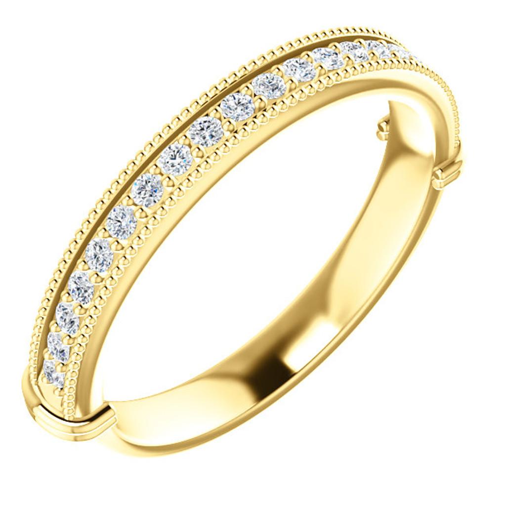 Beautiful Cubic Zirconia Wedding Band in Solid 14 Karat Yellow Gold
