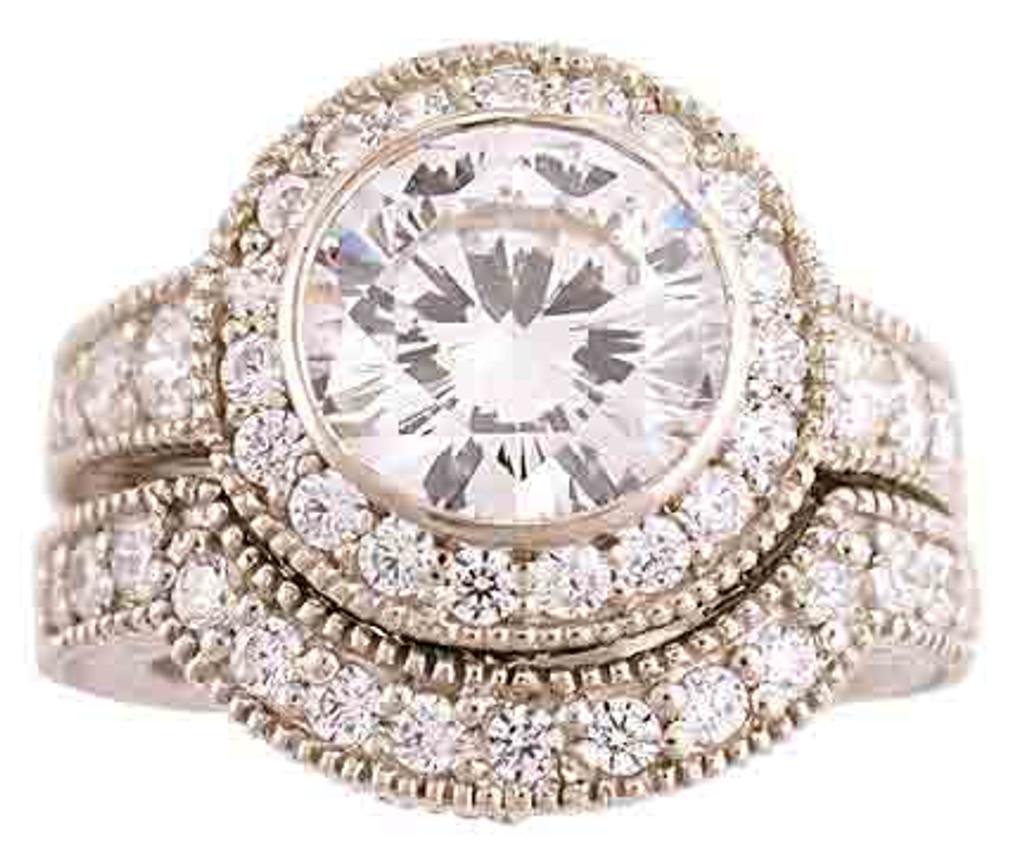 2 Carat CZ Engagement Ring  & Wedding Band
