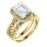 Stunning 2 Carat Emerald Cut Cubic Zirconia Halo Wedding Set in Solid 14 Karat Yellow Gold