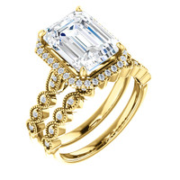 Flawless 3 Carat Emerald Cut Cubic Zirconia Halo Wedding Set in Solid 14 Karat Yellow Gold