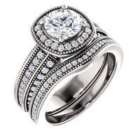 Beautiful 1 Carat Round Cubic Zirconia Wedding Set