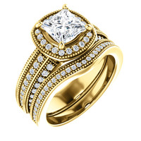 Flawless 1 Carat Princess Cut Cubic Zirconia Wedding Set in Solid 14 Karat Yellow Gold