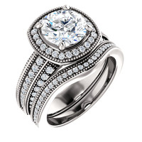 Brilliant 2 Carat Round Cubic Zirconia Wedding Set in Solid 14 Karat White Gold