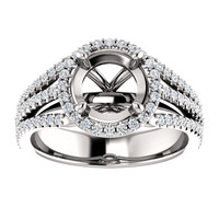 Heavy Solid 14 Karat White Gold Setting With Your Choice Of Center Stone