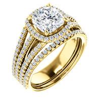 Gorgeous 2 Carat Cushion Cut Cubic Zirconia Halo Wedding Set in Solid 14 Karat Yellow Gold