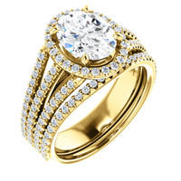 Brilliant 2 Carat Oval Cubic Zirconia Halo Wedding Set in Solid 14 Karat Yellow Gold
