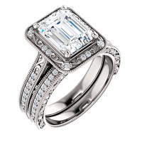 Flawless 2 Carat Hand Cut & Polished Cubic Zirconia Emerald Cut Halo Wedding Set in Solid 14 Karat White Gold