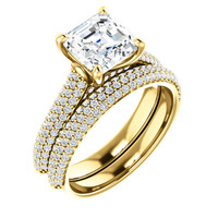 Hand Cut & Polished 2 Carat Royal Asscher Cut Cubic Zirconia Wedding Set in Solid 14 Karat Yellow Gold