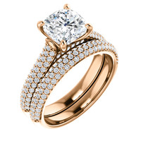 Worlds Finest 2 Carat Cushion Cut Cubic Zirconia Wedding Set in Solid 14 Karat Rose Gold