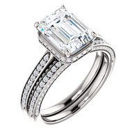 Flawless 2 Carat Emerald Cut Cubic Zirconia Hidden Halo Engagement Ring & Matching Band in Solid 14 Karat White Gold