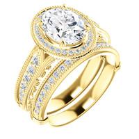 Beautiful 2 Carat Oval Cubic Zirconia Estate Style Wedding Set in Solid 14 Karat Yellow Gold
