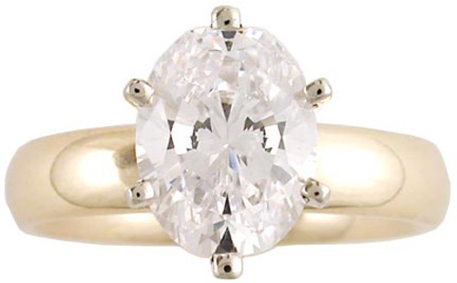 2 Carat Oval CZ Solitaire on 4mm Band