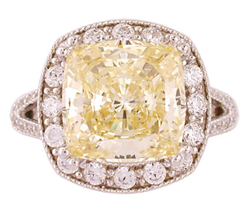 6.00Ct Cushion Cut Canary Halo Set in 14Kt White Gold