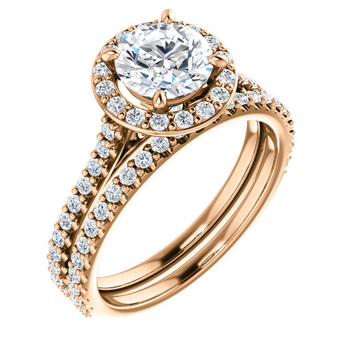 1 Carat 14 Karat Rose Gold Halo Wedding Set