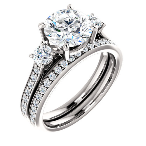 Flawless 2 Carat Round Cubic Zirconia Three Stone Wedding Set in Solid 14 Karat White Gold