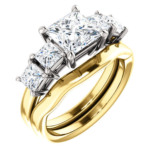 Hand Cut & Polished 1 Carat Princess Cut Cubic Zirconia with Princess Cut Accent Stones in Solid 14 karat Yellow & White Gold