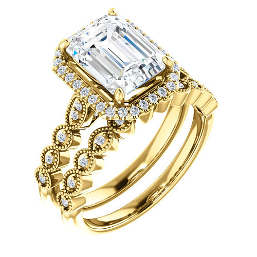 Stunning 2 Carat Emerald Cut Cubic Zirconia Halo Wedding Set in Solid 14 Karat Yellow Gold