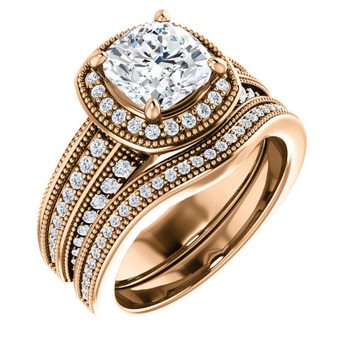 Stunning 2 Carat Cushion Cut Cubic Zirconia Wedding Set in Solid 14 Karat Rose Gold