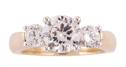 1 Carat Round Cubic Zirconia Surprise Stone Three Stone Ring