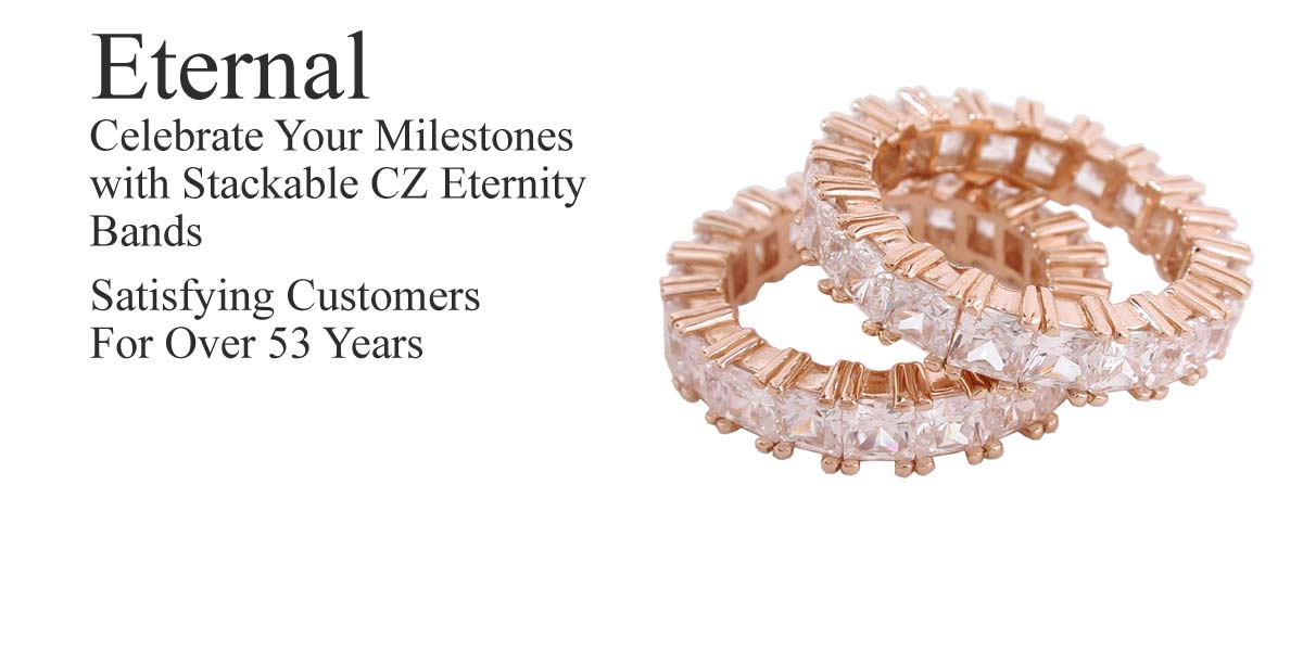 cz 14kt gold eternity bands