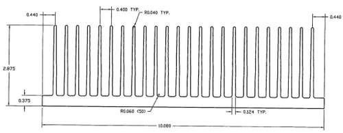 "10.080"" Wide Extruded Aluminum Heatsink"
