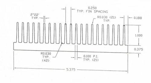 "5.375"" Wide Extruded Aluminum Heatsink"